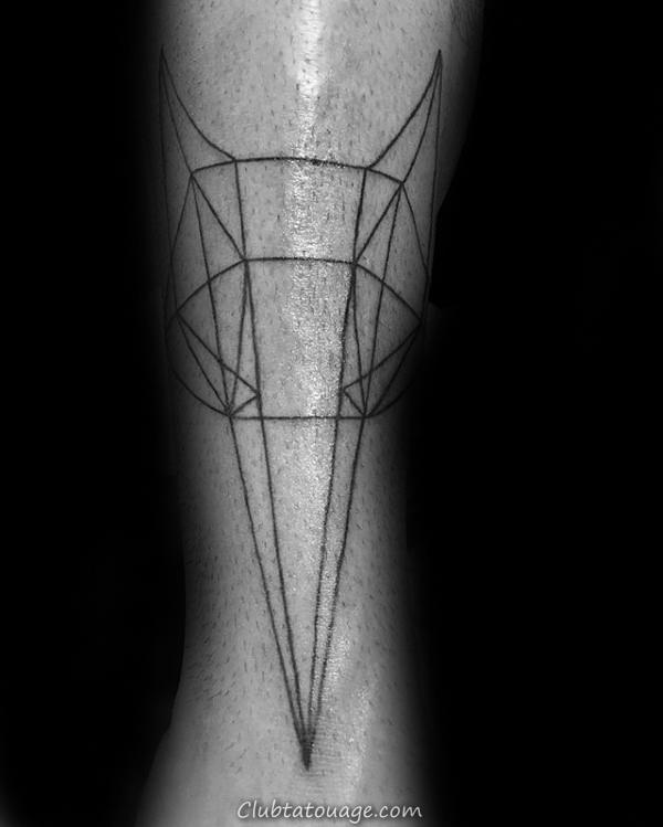 width Phase de Lune Homme géométrique Loup Leg Tattoo