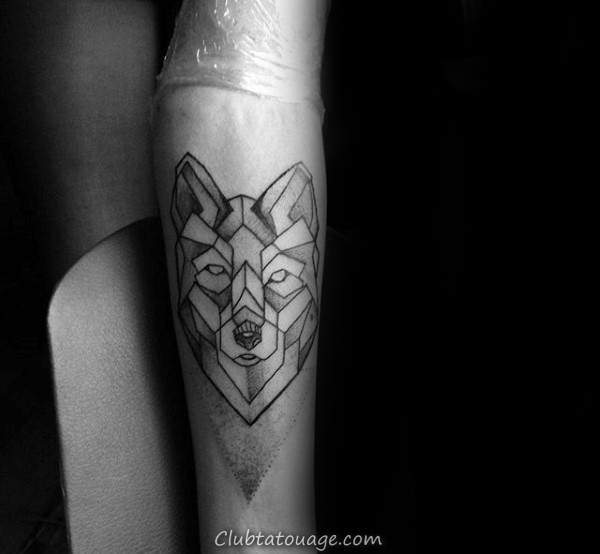 Montagnes Avec Forêt Homme géométriques Loup Inner Forearm Tatouages