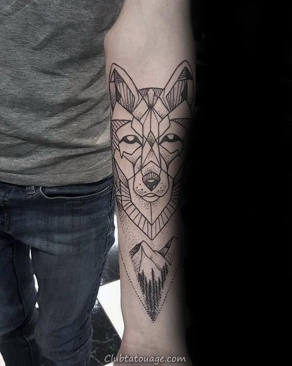 Nuit Forêt géométrique Loup Arm Tattoos Pour Guys