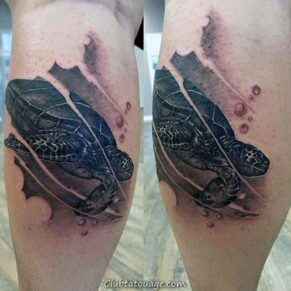 Waves Old School Mens Tortue Ocean Forearm Tattoos