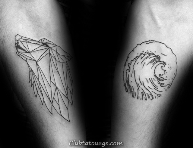 Roaming géométrique loup Hommes Inner Forearm Tattoo Design Ideas