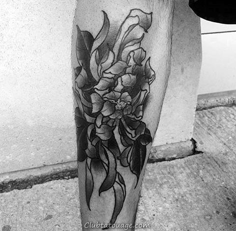 Old School Guys Chrysanthemum Shaded Fleur Tattoso Sur Leg