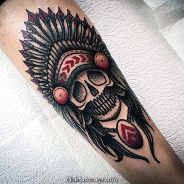 old-school-guys-indian-skull-forearm-tattoo-inspiration