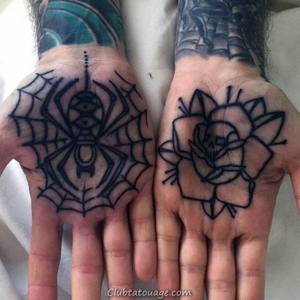 Skeleton Hands Avec Dagger Guys Spider Web eblow Tattoo