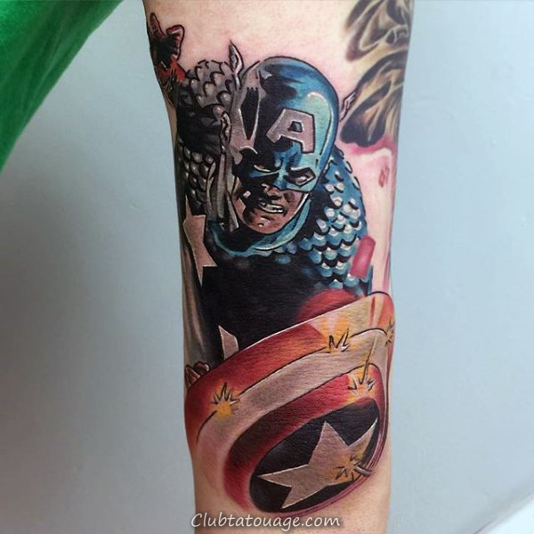 Skin Ripped Captain America Shield Homme Tattoo Designs