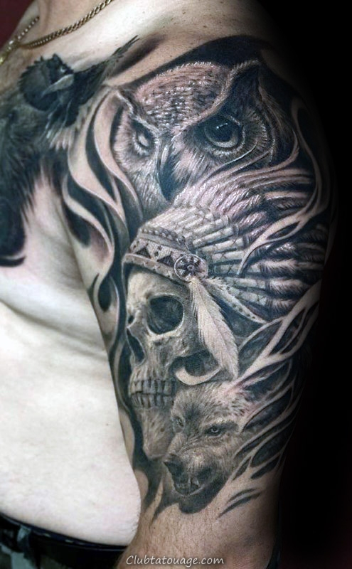 owl-with-indian-skull-male-half-sleeve-tattoo