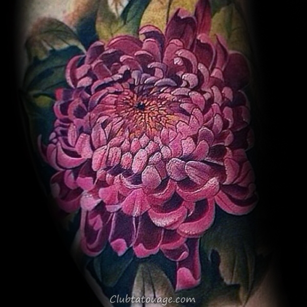 Small tattoos for men on pinterest small tattoos men rose tattoos - 100 Chrysanthemum Tattoo Designs For Men Id 233 Es Encre