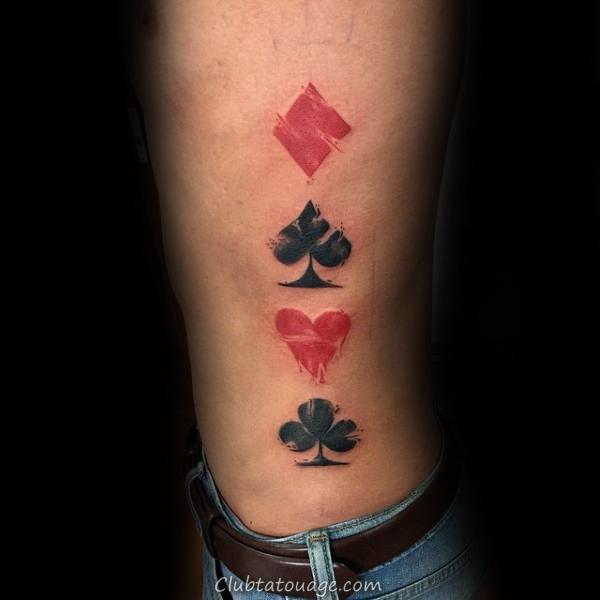 réaliste Guys encre noire Jouer carte inférieure Ribs Tattoo
