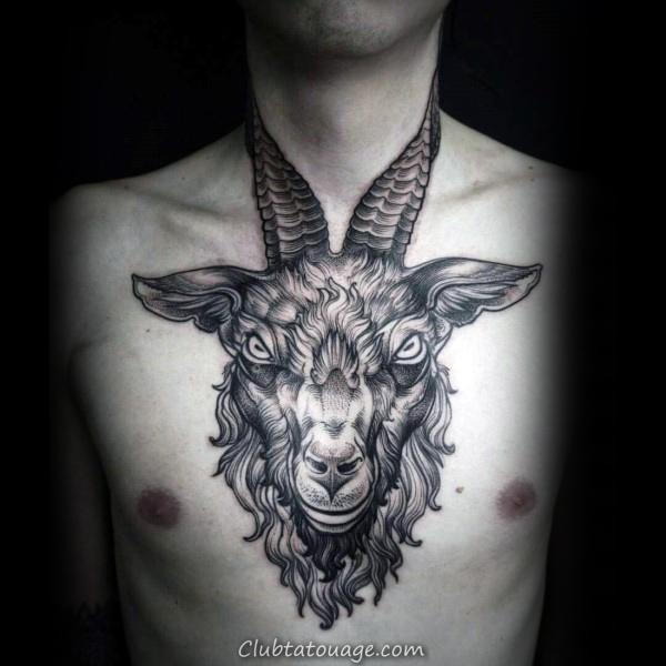 Ram poitrine et le cou Tattoo pour les gars