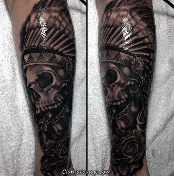Realistic 3d encre noire Homme indiens Leg Tatouages manches Skull