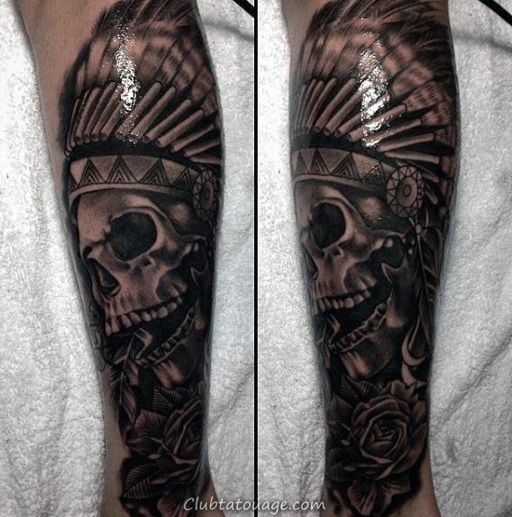 realistic-3d-black-ink-male-indian-skull-leg-sleeve-tattoos