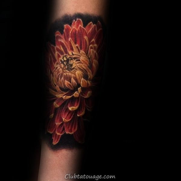 Realistic 3d Chrysanthemum Homme tatouage idées pour Forearm
