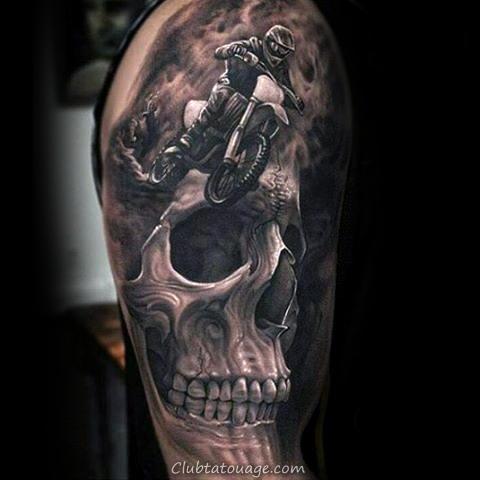 réaliste Motocross manches demi Guys Tattoo
