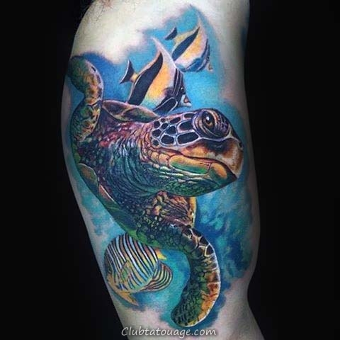 Shaded Tortue Mens manches demi Japanese Tattoo Designs