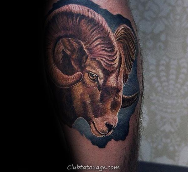 Réaliste Ram Leg Calf tatouages pour les hommes