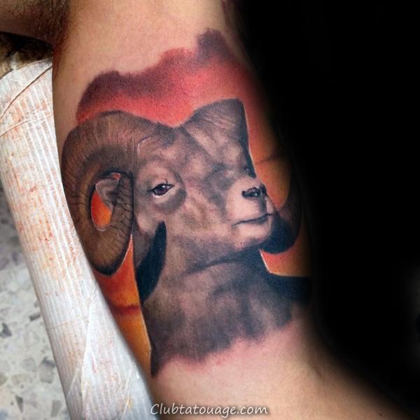 Réaliste Ram Aquarelle Homme Biceps Inner Arm Tattoos