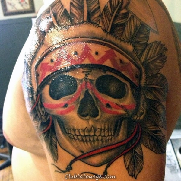 red-and-black-ink-warrior-guys-indian-skull-upper-arm-tattoo