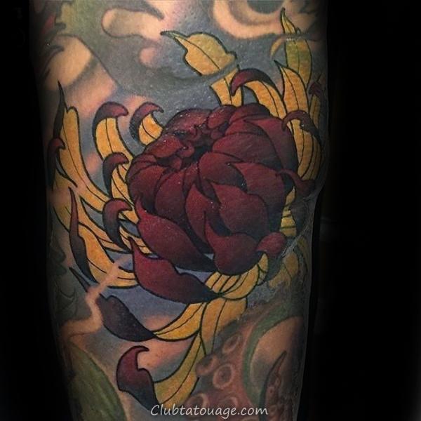 width Tattoo manches rouge et jaune fleur de chrysanthème Mens On Arm