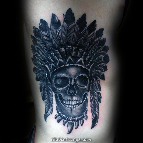 Cage thoracique Side noir et gris indiens Skull Hommes Shaded Tattoo Ideas