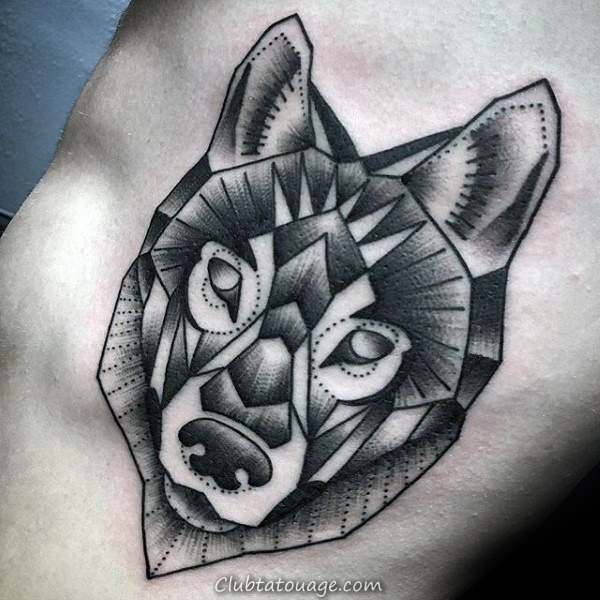 Roaring géométrique Loup Upper Arm Tattoo For Men