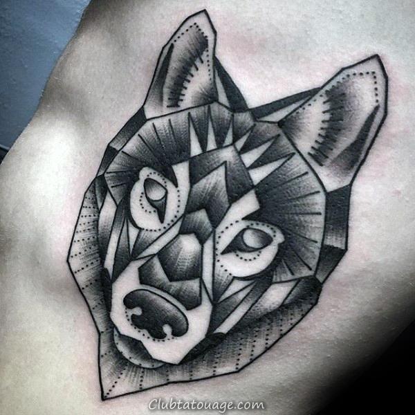 Roaring géométrique Loup Upper Arm Tattoo For Men