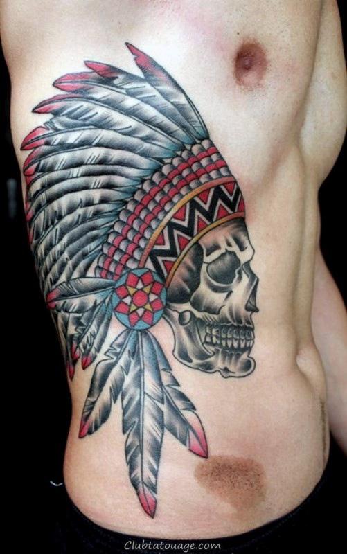 Ribs indiens Crâne Hommes Tattoos
