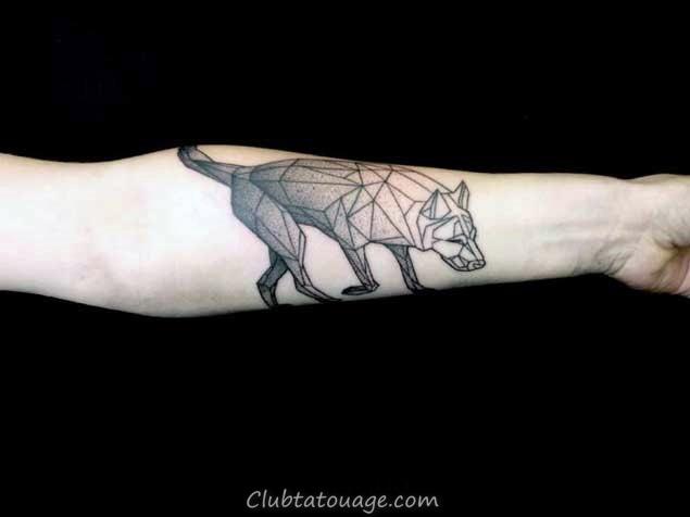 width Shaded Et Linework géométrique Loup Mens Forearm Tattoo Inspiration
