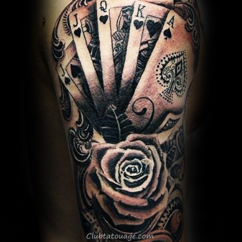 Squelette Tenir Playing Cards Arm Tattoo Mens