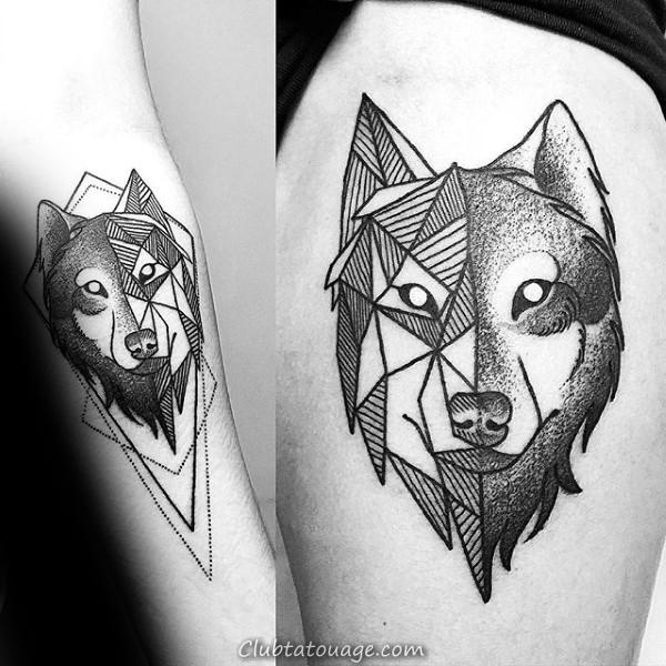 Épaules Hommes géométriques Loup Tattoo Idées