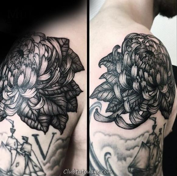 width Shaded chrysanthème Mens épaule Tattoo