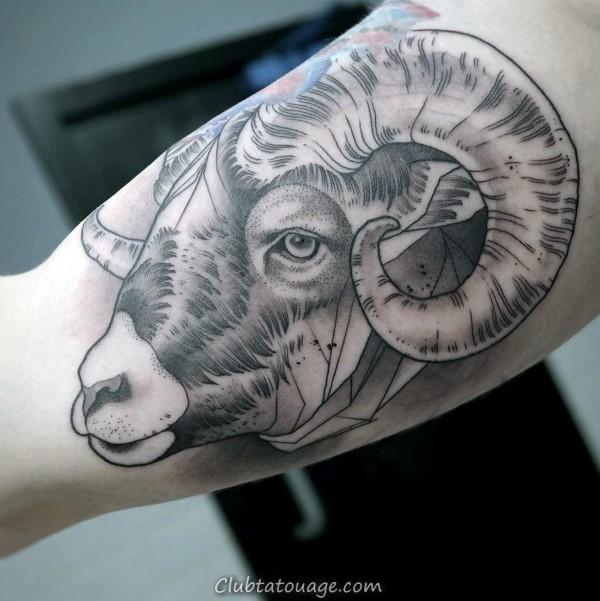 Shaded géométrique Ram Biceps Tatouages pour les hommes