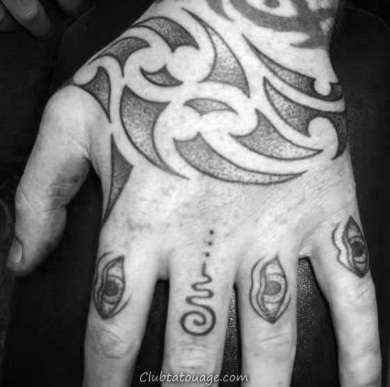 Small Tatouages main Tribal simple pour les hommes Avec Coffin Design