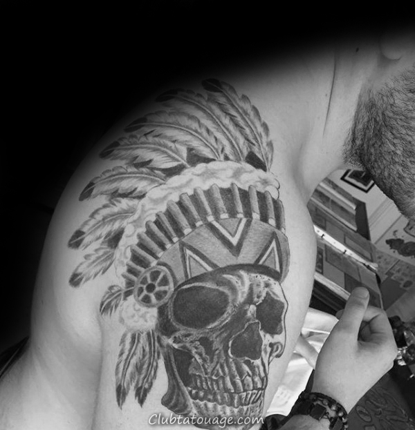 Épaules Skull Tattoo Indian Homme