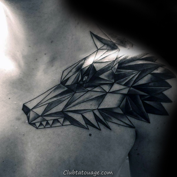 90 Geometric Loup Tattoo Designs For Men - Idées Manly encre