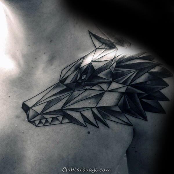Loup Tattoo Sur Hommes bras simple géométrique