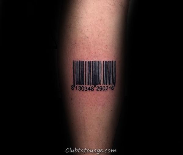 Small Barcode arrière du cou Homme Tatouages
