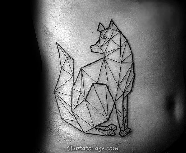 Petits Hommes géométriques Loup haut du dos Tatouages 