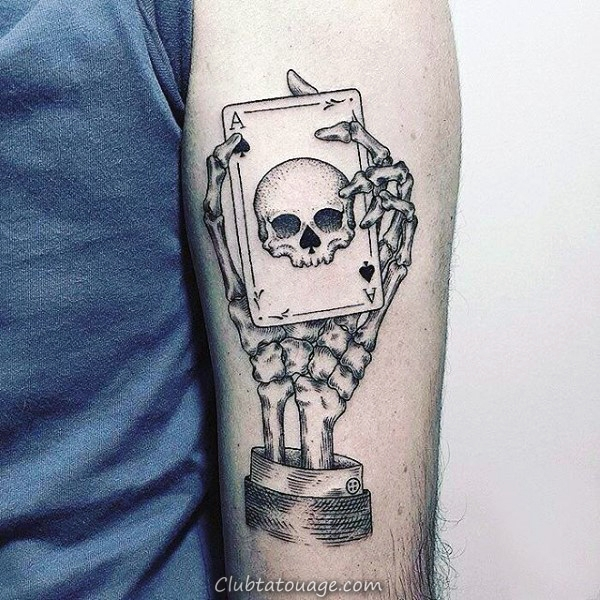 Skull Playing Card Shaded noir et gris Homme Tattoo Ideas