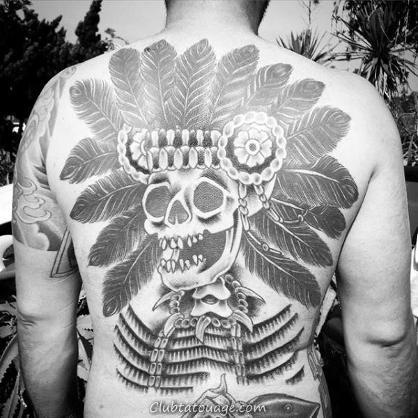 Squelette indiens Crâne Homme Retour Tattoo Ideas