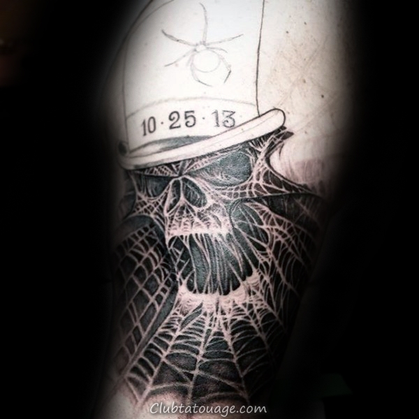 Thin Spider Web Black Ink Lines Homme Tattoo Sur Forearm