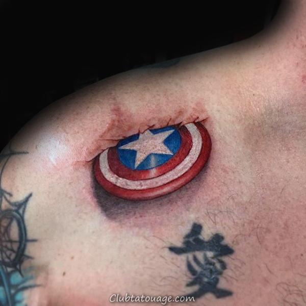 Tattoo Étoile Captain America Petit Mens Arm Designs