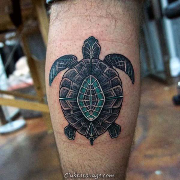 petite tortue Palmier Coucher de soleil Hommes Forearm Tattoos