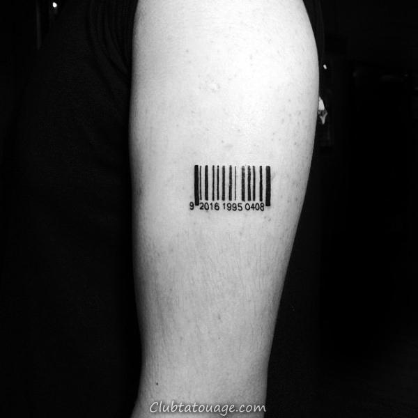 Zipper Barcode Tatouages pour les hommes sur la poitrine