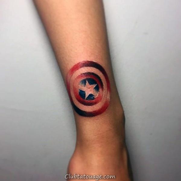 Superhero plein manches Themed Homme Tatoo Avec Captain America