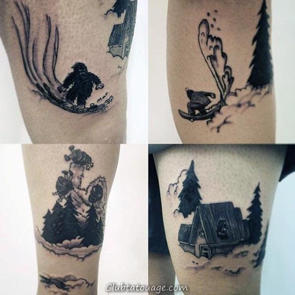 90 Snowboard Tattoo Designs For Men - Idées d'encre cool