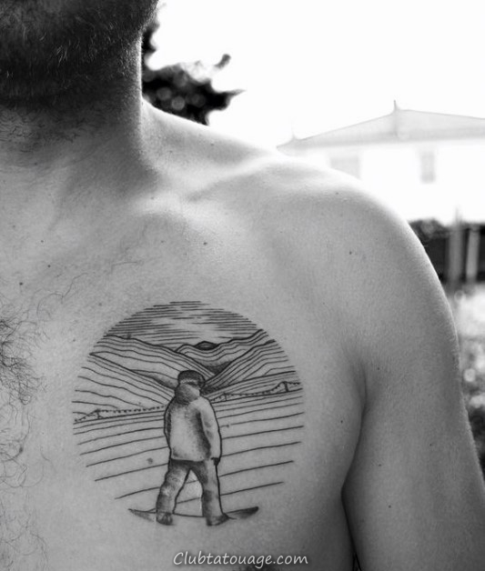 Snowboard Intérieur Sphère Tattoo Design Ideas Le Mens Chest