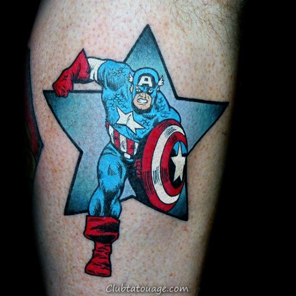 cuisse Captain America Homme Tattoo