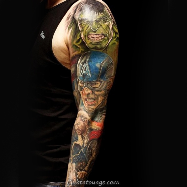 Upper Arm Shield Captain America Tattoo Sur Man