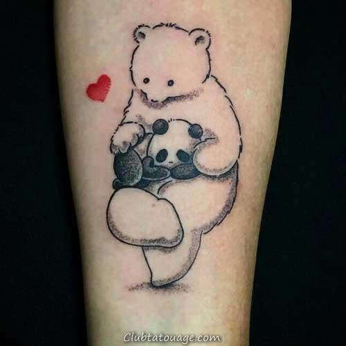 20 Photos Panda + Meanings de Tatouages
