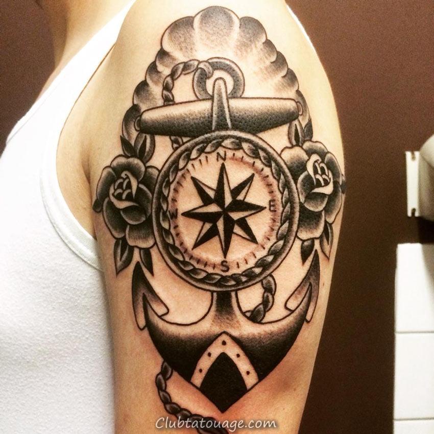 le meilleur tatouages des ancres, nous voyons une fille avec une belle et délicate tatouage
